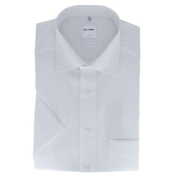 Chemise OLYMP Luxor comfort fit UNI POPELINE blanc avec col Nouveau Kent en coupe classique