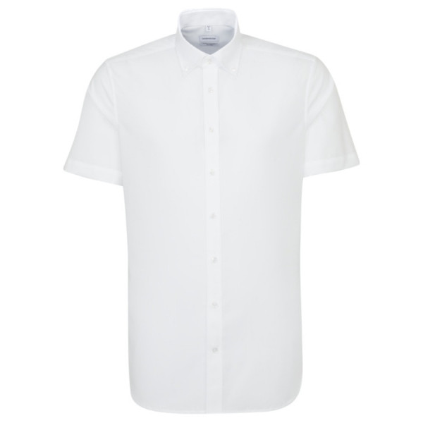 Chemise Seidensticker SHAPED UNI POPELINE blanc avec col Button Down en coupe moderne