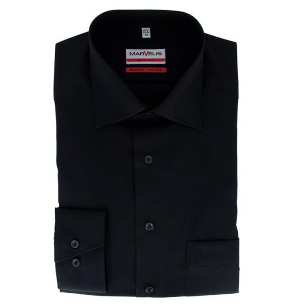 Chemise Marvelis MODERN FIT UNI POPELINE noir avec col Nouveau Kent en coupe moderne