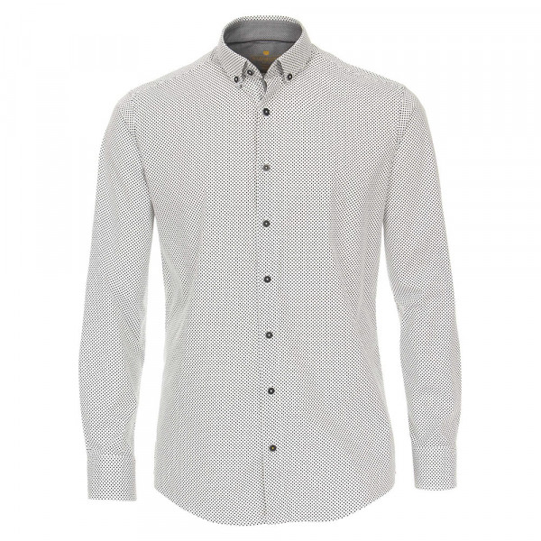 Chemise Redmond MODERN FIT UNI STRETCH blanc avec col Button Down en coupe moderne