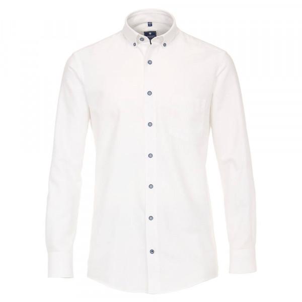 Chemise Redmond COMFORT FIT STRUCTURE blanc avec col Button Down en coupe classique