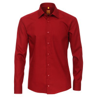 Chemise Redmond MODERN FIT UNI POPELINE rouge avec col Kent en coupe moderne