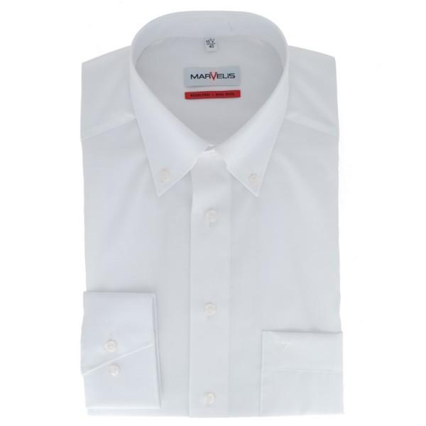Chemise Marvelis COMFORT FIT UNI POPELINE blanc avec col Button Down en coupe classique