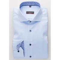 Chemise Eterna MODERN FIT TWILL bleu clair avec col Italien en coupe moderne