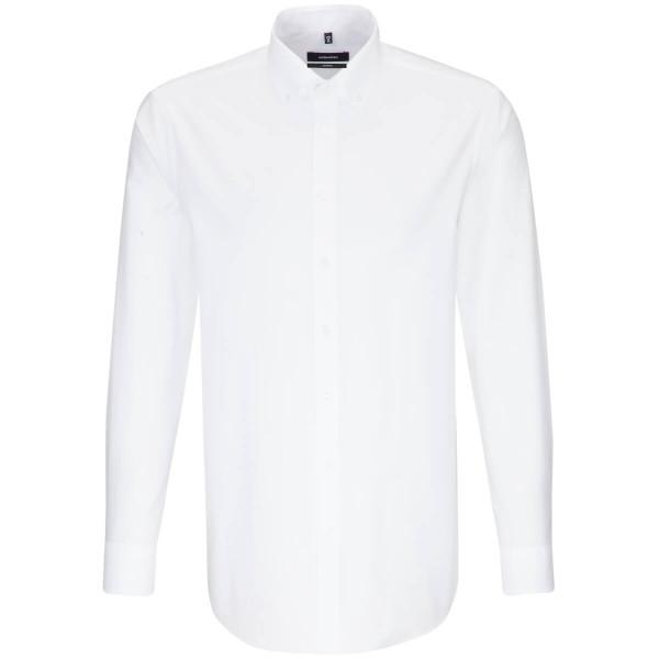 Chemise Seidensticker REGULAR BEAUX OXFORD blanc avec col Button Down en coupe moderne