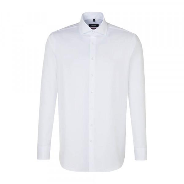 Chemise Seidensticker REGULAR TWILL blanc avec col Spread Kent en coupe moderne