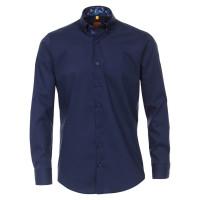 Chemise Redmond MODERN FIT UNI POPELINE bleu foncé avec col Button Down en coupe moderne