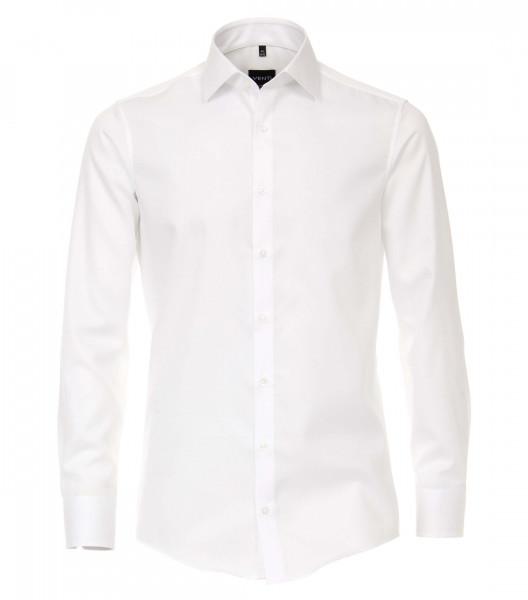 Chemise Venti MODERN FIT UNI POPELINE blanc avec col Kent en coupe moderne