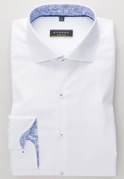 Chemise Eterna SUPER SLIM TWILL blanc avec col Italien en coupe super étroite