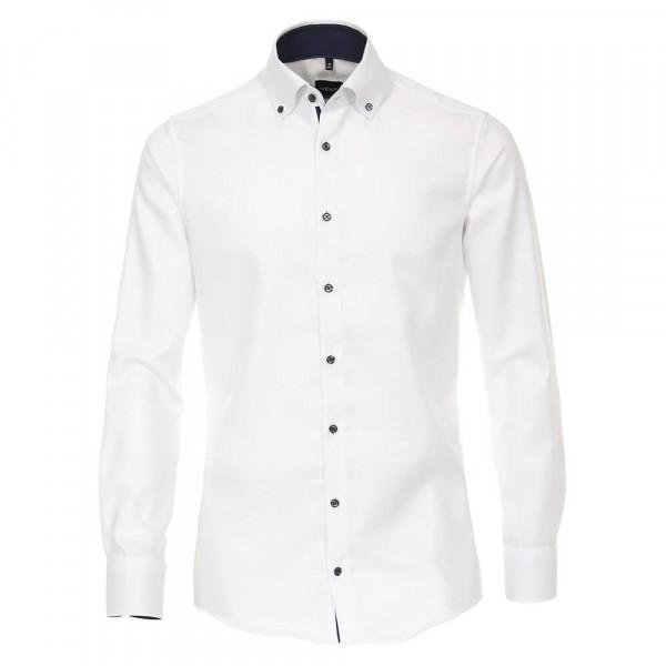Chemise Venti MODERN FIT STRUCTURE blanc avec col Button Down en coupe moderne