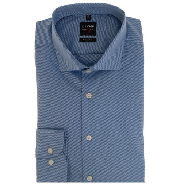 Chemise OLYMP Level Five body fit TWILL bleu clair avec col Royal Kent en coupe étroite
