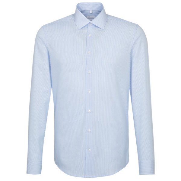 Chemise Seidensticker SHAPED OFFICE bleu clair avec col Business Kent en coupe moderne