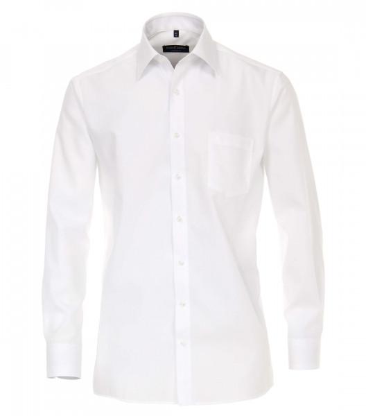 Chemise CASAMODA COMFORT FIT UNI POPELINE blanc avec col Kent en coupe classique