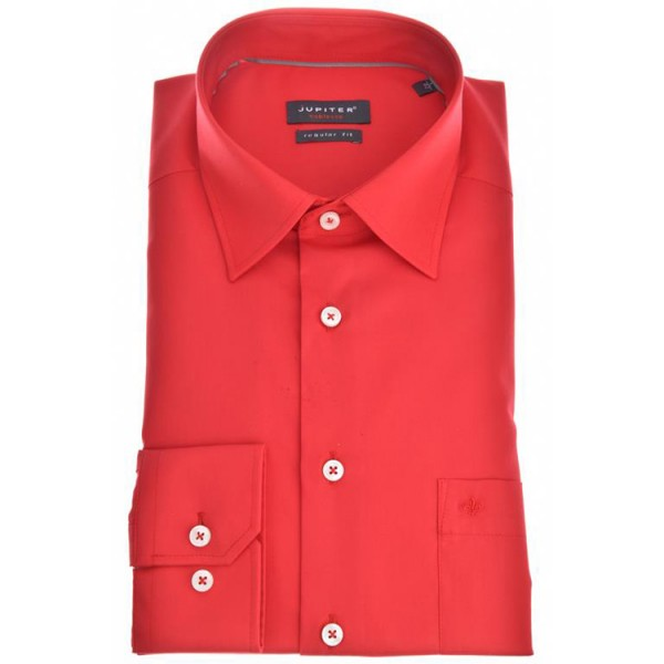 "Chemise Jupiter ""Popeline"" rouge, col kent, coupe classique"