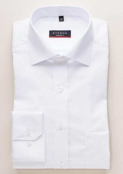 Chemise Eterna MODERN FIT UNI POPELINE blanc avec col Classic Kent en coupe moderne