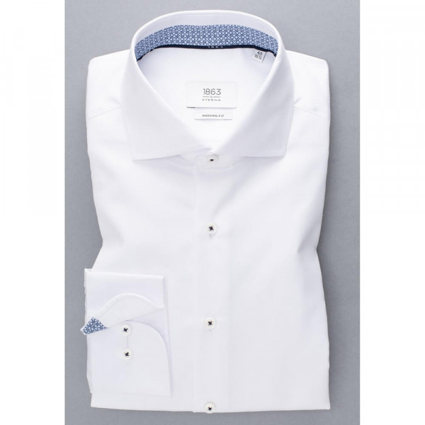 Chemise Eterna MODERN FIT STRUCTURE blanc avec col Italien en coupe moderne