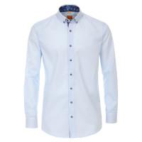 Chemise Redmond MODERN FIT UNI POPELINE bleu clair avec col Button Down en coupe moderne