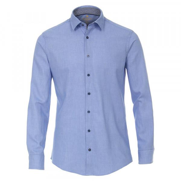 Chemise Redmond MODERN FIT STRUCTURE bleu clair avec col Kent en coupe moderne