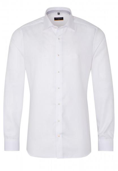 Chemise Eterna SLIM FIT STRUCTURE blanc avec col Classic Kent en coupe étroite