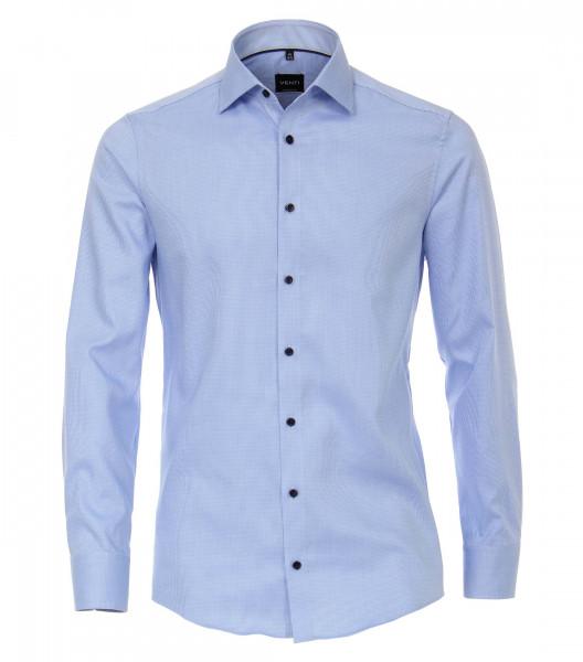 Chemise Venti MODERN FIT STRUCTURE bleu clair avec col Kent en coupe moderne
