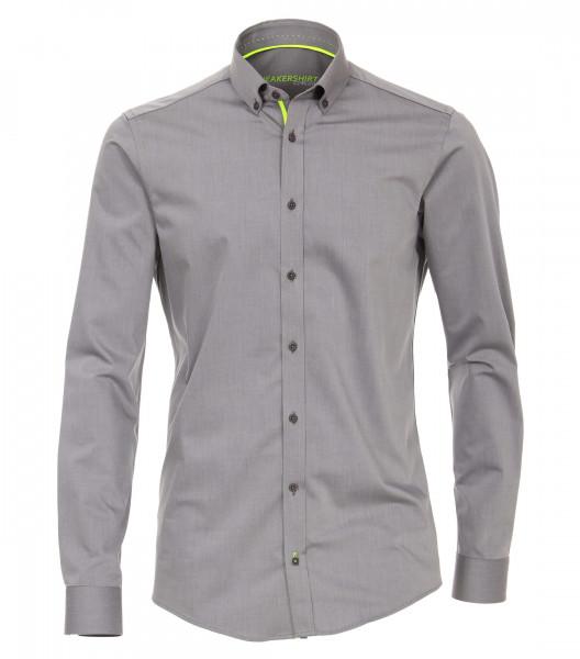 Chemise Venti MODERN FIT UNI POPELINE gris avec col Button Down en coupe moderne