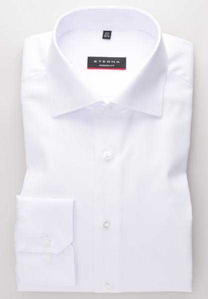 Chemise Eterna MODERN FIT TWILL blanc avec col Classic Kent en coupe moderne