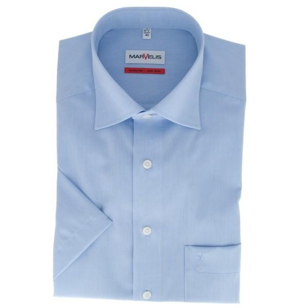 Chemise Marvelis COMFORT FIT CHAMBRAY bleu clair avec col Nouveau Kent en coupe classique