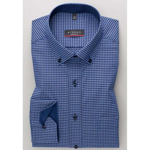 Chemise Eterna MODERN FIT UNI POPELINE bleu moyen avec col Button Down en coupe moderne