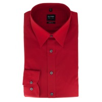 Chemise OLYMP Level Five body fit UNI POPELINE rouge avec col New York Kent en coupe étroite