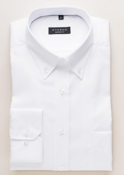 Chemise Eterna COMFORT FIT BEAUX OXFORD blanc avec col Button Down en coupe classique