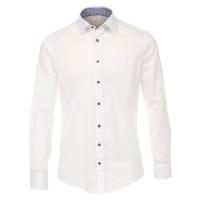Chemise Redmond MODERN FIT UNI POPELINE blanc avec col Kent en coupe moderne