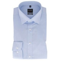 Chemise OLYMP Level Five body fit CHAMBRAY bleu clair avec col New York Kent en coupe étroite