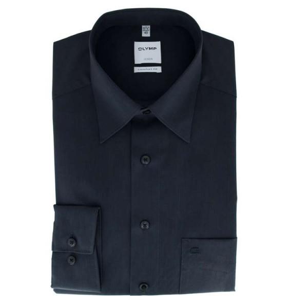 Chemise OLYMP Luxor comfort fit FIL À FIL noir avec col Nouveau Kent en coupe classique