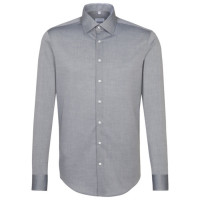 Chemise Seidensticker SLIM FIT CHAMBRAY gris avec col Business Kent en coupe étroite