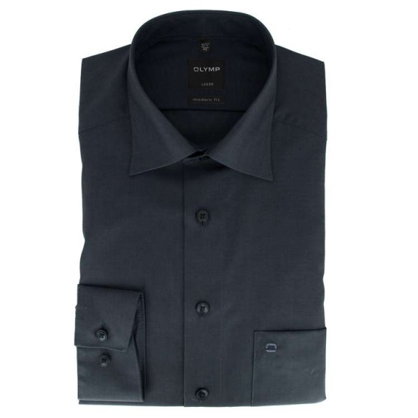 Chemise OLYMP Luxor modern fit CHAMBRAY anthracite avec col Nouveau Kent en coupe moderne