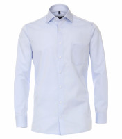 Chemise CASAMODA COMFORT FIT TWILL bleu clair avec col Kent en coupe classique